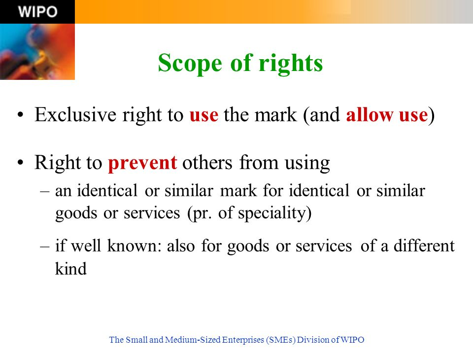 The Small and Medium-Sized Enterprises (SMEs) Division of WIPO Scope of rights Exclusive right to use the mark (and allow use) Right to prevent others from using –an identical or similar mark for identical or similar goods or services (pr.