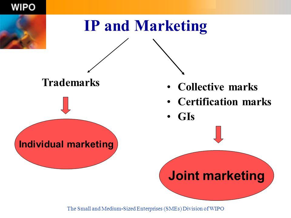The Small and Medium-Sized Enterprises (SMEs) Division of WIPO IP and Marketing Collective marks Certification marks GIs Trademarks Individual marketing Joint marketing