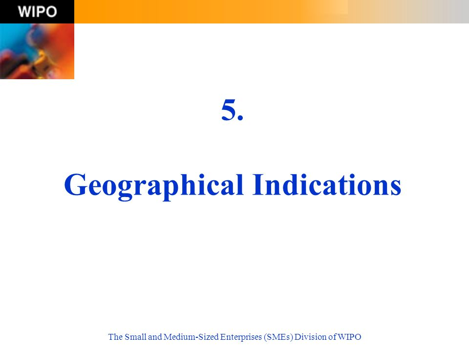 The Small and Medium-Sized Enterprises (SMEs) Division of WIPO 5. Geographical Indications