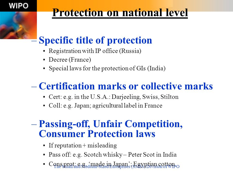 The Small and Medium-Sized Enterprises (SMEs) Division of WIPO Protection on national level –Specific title of protection Registration with IP office (Russia) Decree (France) Special laws for the protection of GIs (India) –Certification marks or collective marks Cert: e.g.