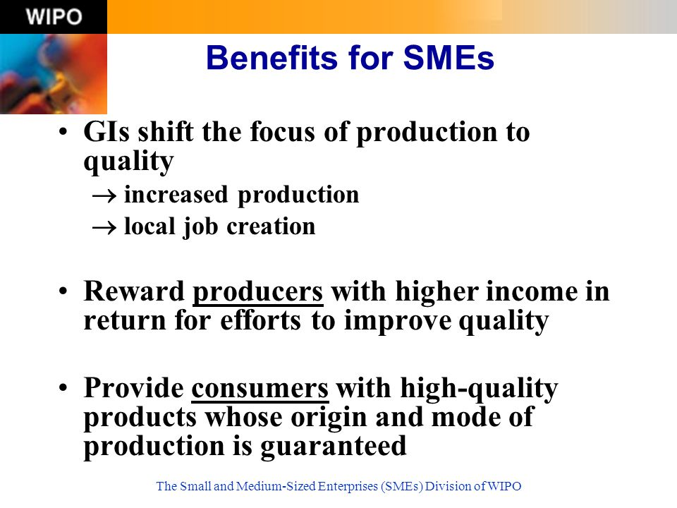 The Small and Medium-Sized Enterprises (SMEs) Division of WIPO GIs shift the focus of production to quality increased production local job creation Reward producers with higher income in return for efforts to improve quality Provide consumers with high-quality products whose origin and mode of production is guaranteed Benefits for SMEs