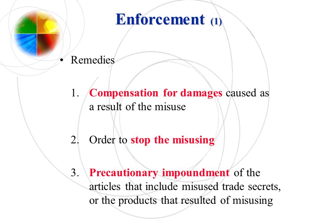 Enforcement (1) Remedies 1.Compensation for damages caused as a result of the misuse 2.Order to stop the misusing 3.Precautionary impoundment of the a