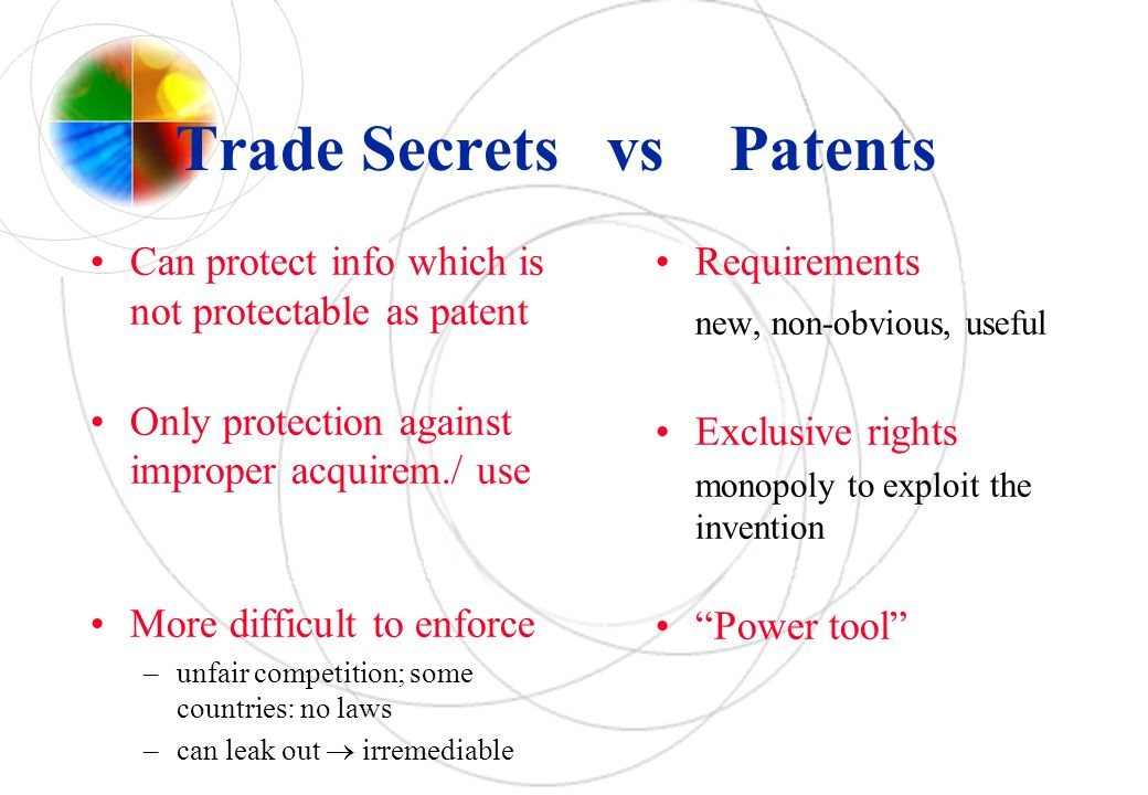 Trade Secrets vs Patents Can protect info which is not protectable as patent Only protection against improper acquirem./ use More difficult to enforce