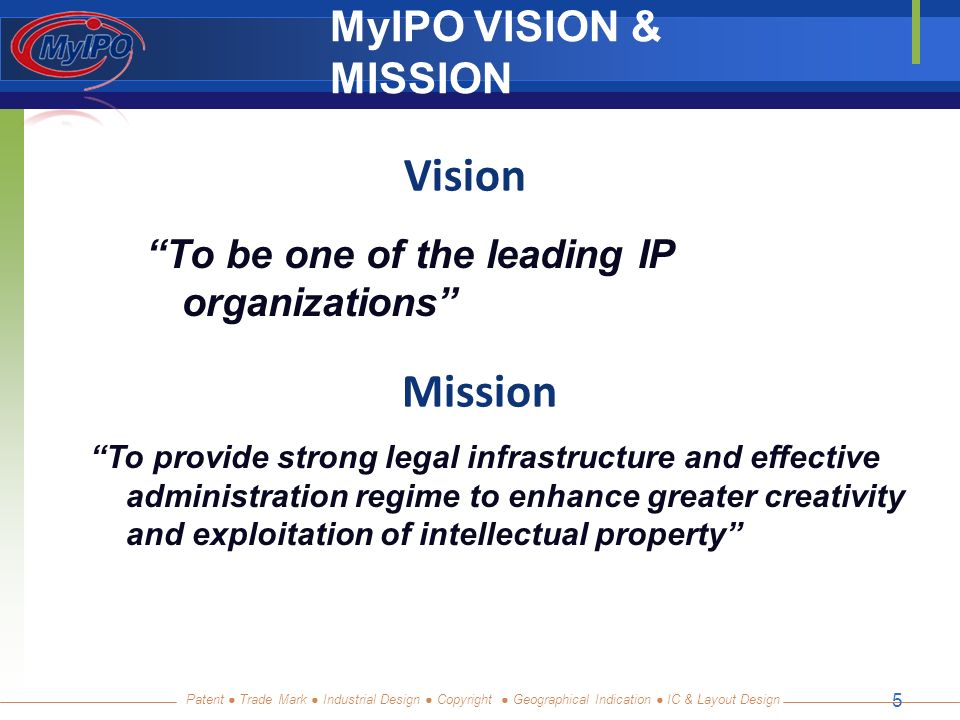 Patent Trade Mark Industrial Design Copyright Geographical Indication IC & Layout Design 5 MyIPO VISION & MISSION To be one of the leading IP organizations Mission To provide strong legal infrastructure and effective administration regime to enhance greater creativity and exploitation of intellectual property Vision