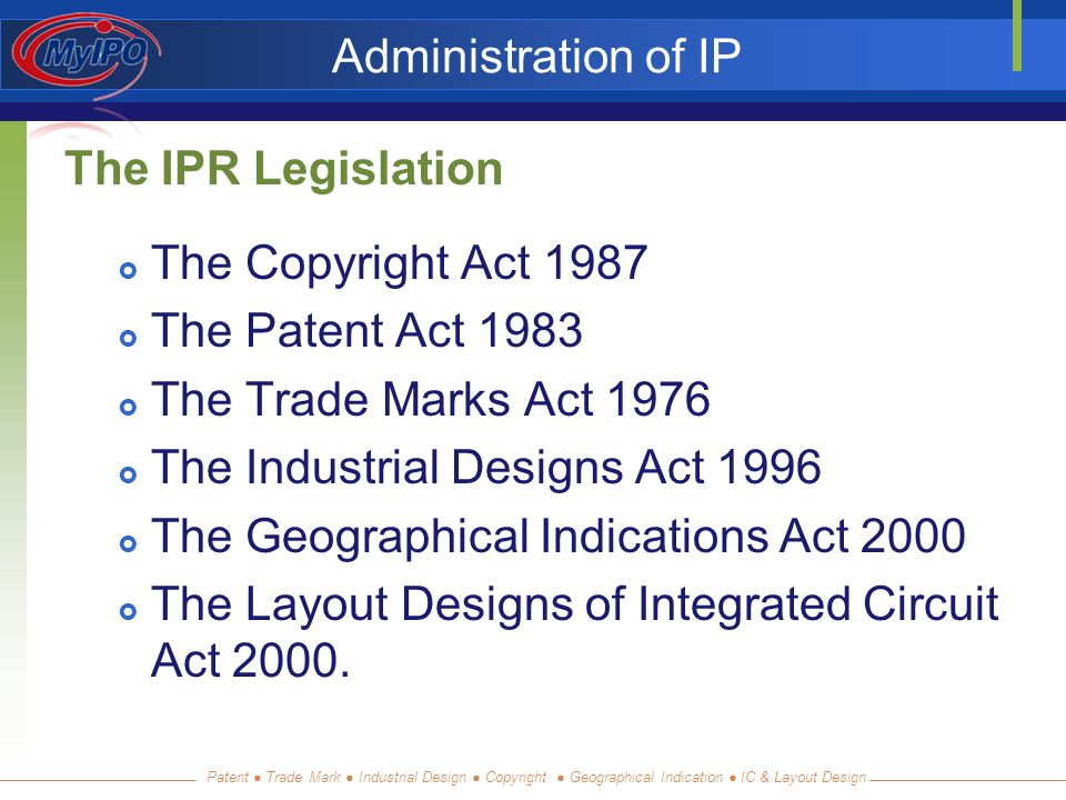 Patent Trade Mark Industrial Design Copyright Geographical Indication IC & Layout Design Administration of IP The IPR Legislation The Copyright Act 1987 The Patent Act 1983 The Trade Marks Act 1976 The Industrial Designs Act 1996 The Geographical Indications Act 2000 The Layout Designs of Integrated Circuit Act 2000.
