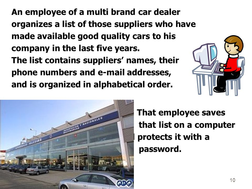 An employee of a multi brand car dealer organizes a list of those suppliers who have made available good quality cars to his company in the last five years.