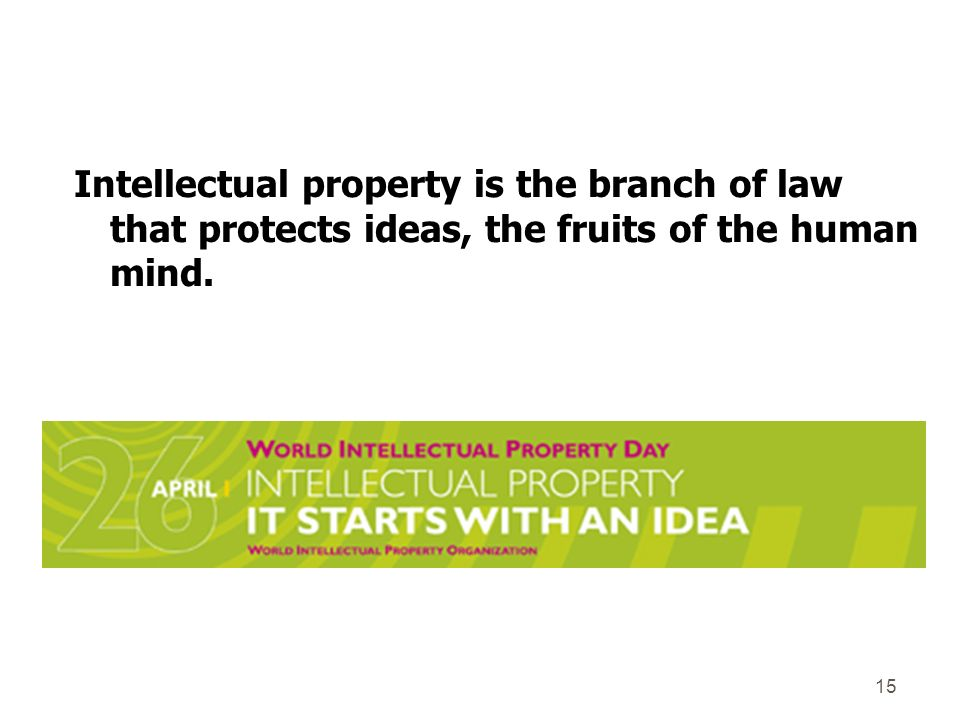 Intellectual property is the branch of law that protects ideas, the fruits of the human mind. 15
