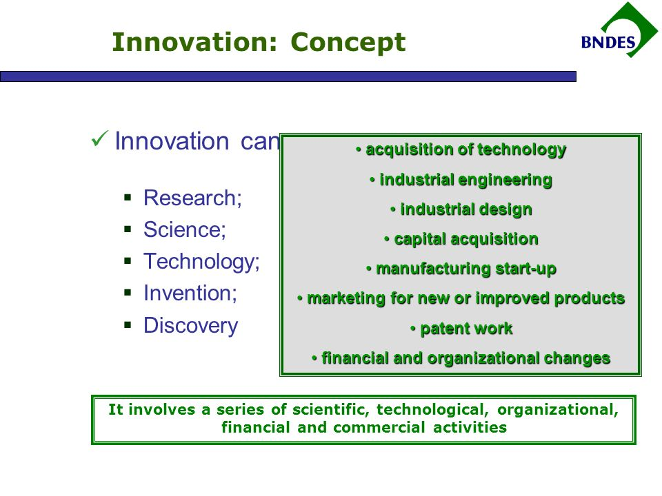 Innovation can cover: Research; Science; Technology; Invention; Discovery Innovation: Concept It involves a series of scientific, technological, organizational, financial and commercial activities acquisition of technology acquisition of technology industrial engineering industrial engineering industrial design industrial design capital acquisition capital acquisition manufacturing start-up manufacturing start-up marketing for new or improved products marketing for new or improved products patent work patent work financial and organizational changes financial and organizational changes