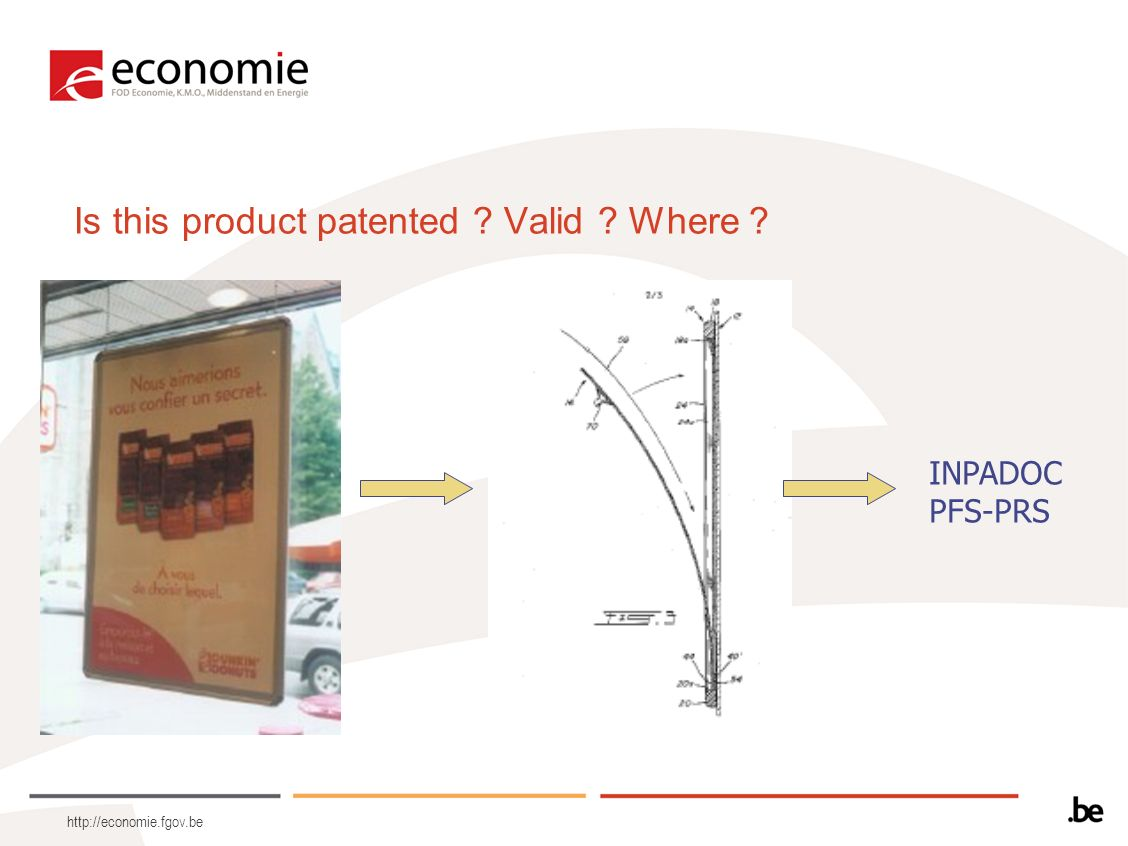 http://economie.fgov.be Is this product patented ? Valid ? Where ? INPADOC PFS-PRS