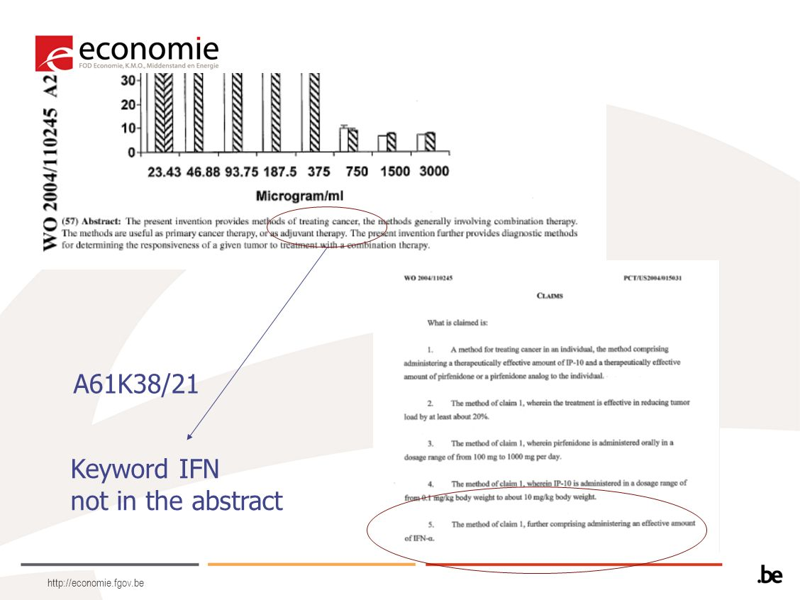 http://economie.fgov.be A61K38/21 Keyword IFN not in the abstract