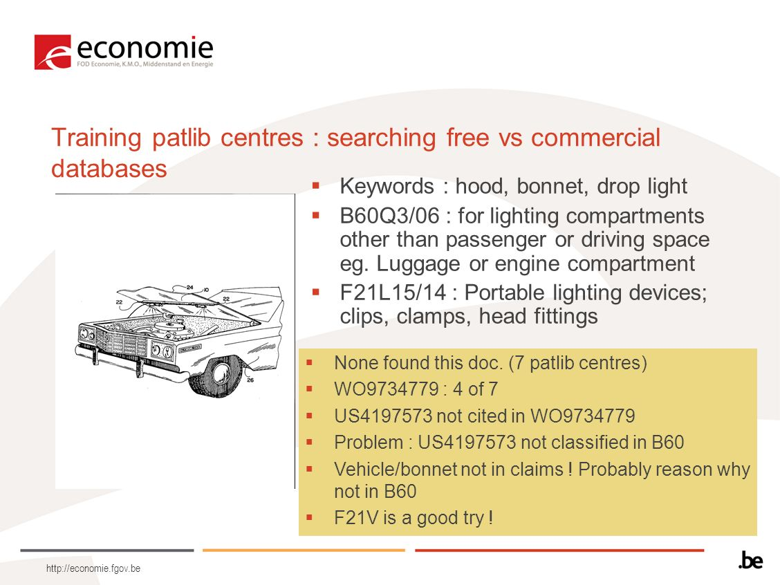 http://economie.fgov.be Training patlib centres : searching free vs commercial databases Keywords : hood, bonnet, drop light B60Q3/06 : for lighting c