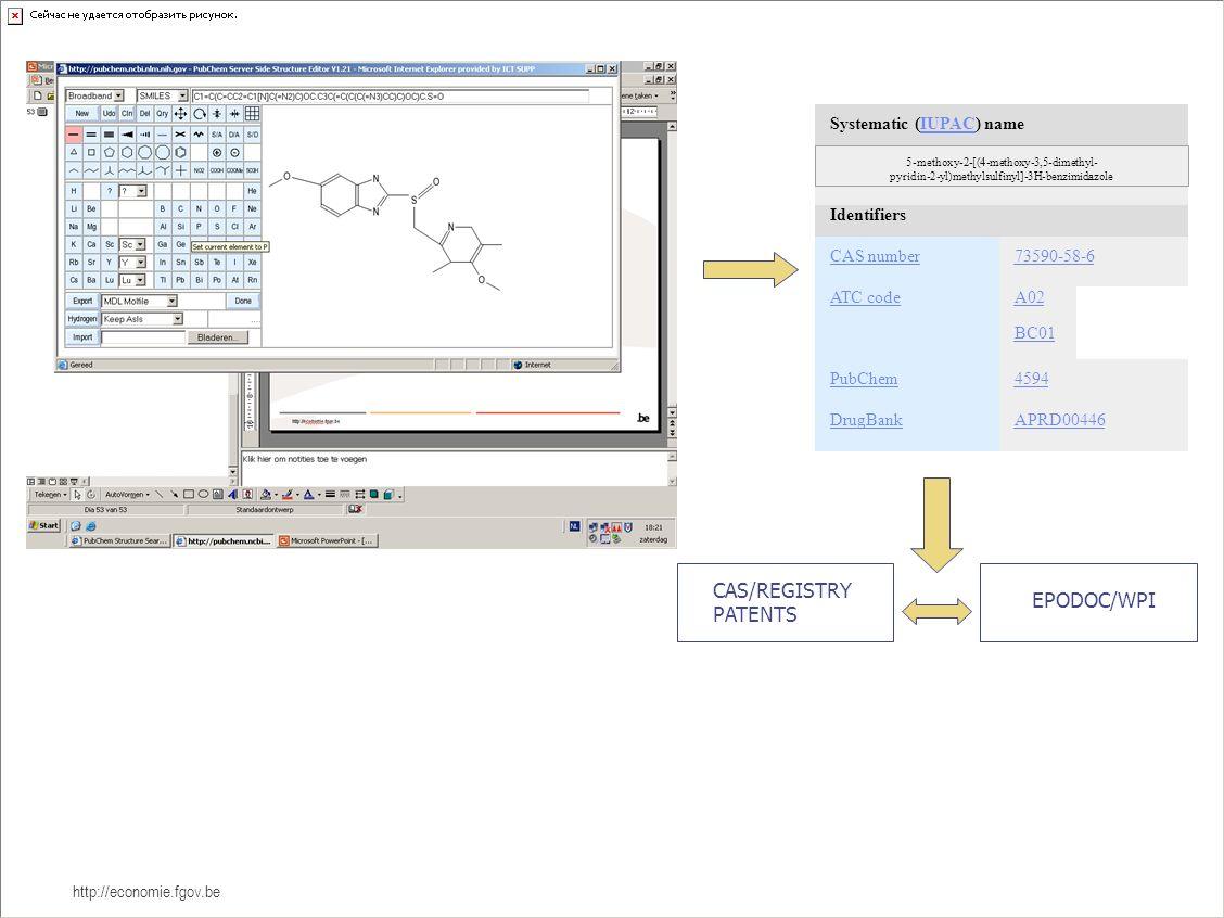http://economie.fgov.be Systematic (IUPAC) nameIUPAC Identifiers CAS number73590-58-6 ATC codeA02 BC01 PubChem4594 DrugBankAPRD00446 5-methoxy-2-[(4-methoxy-3,5-dimethyl- pyridin-2-yl)methylsulfinyl]-3H-benzimidazole CAS/REGISTRY PATENTS EPODOC/WPI