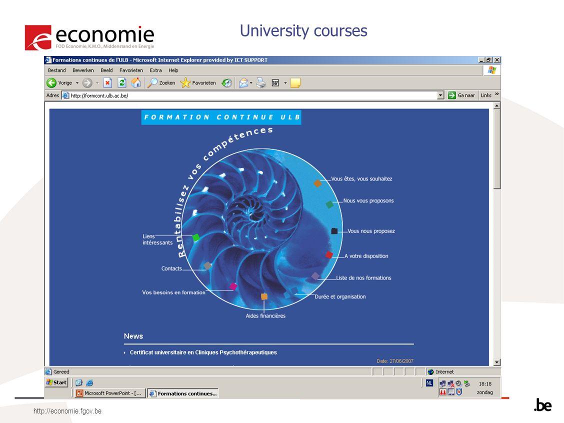 http://economie.fgov.be University courses