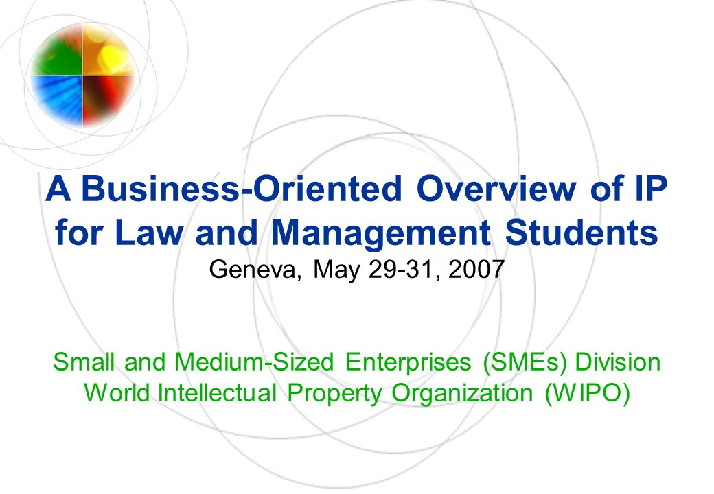 A Business-Oriented Overview of IP for Law and Management Students Geneva, May 29-31, 2007 Small and Medium-Sized Enterprises (SMEs) Division World Intellectual Property Organization (WIPO)