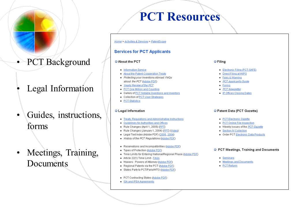 PCT Resources PCT Background Legal Information Guides, instructions, forms Meetings, Training, Documents