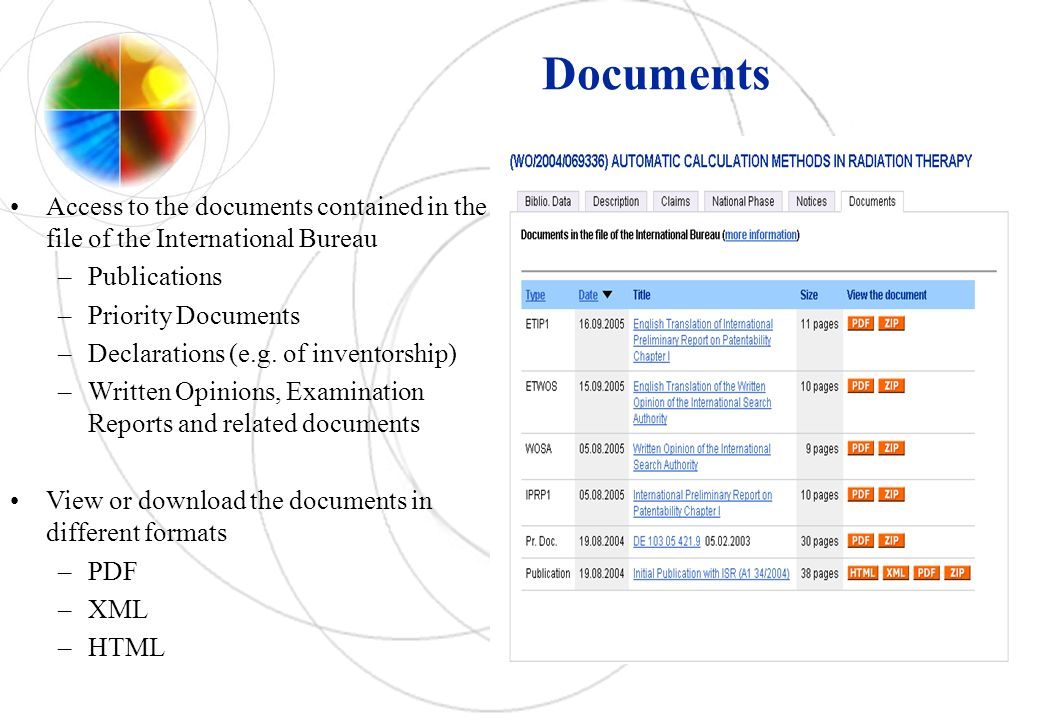 Access to the documents contained in the file of the International Bureau –Publications –Priority Documents –Declarations (e.g. of inventorship) –Writ