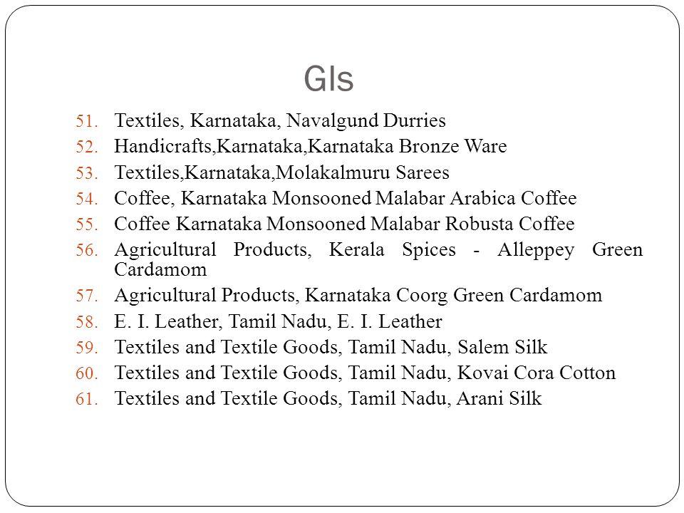 GIs 51. Textiles, Karnataka, Navalgund Durries 52. Handicrafts,Karnataka,Karnataka Bronze Ware 53. Textiles,Karnataka,Molakalmuru Sarees 54. Coffee, K