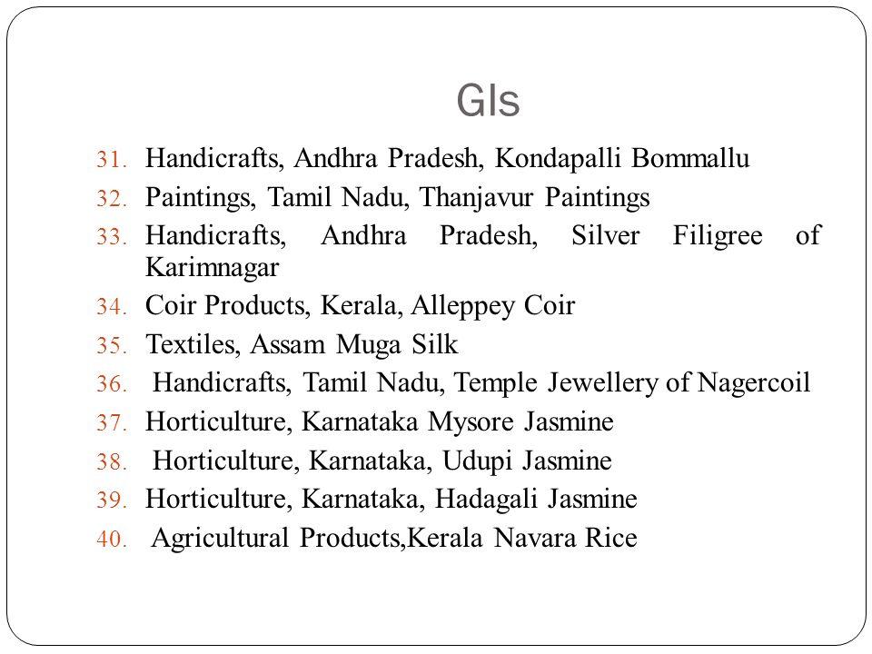 GIs 31. Handicrafts, Andhra Pradesh, Kondapalli Bommallu 32. Paintings, Tamil Nadu, Thanjavur Paintings 33. Handicrafts, Andhra Pradesh, Silver Filigr