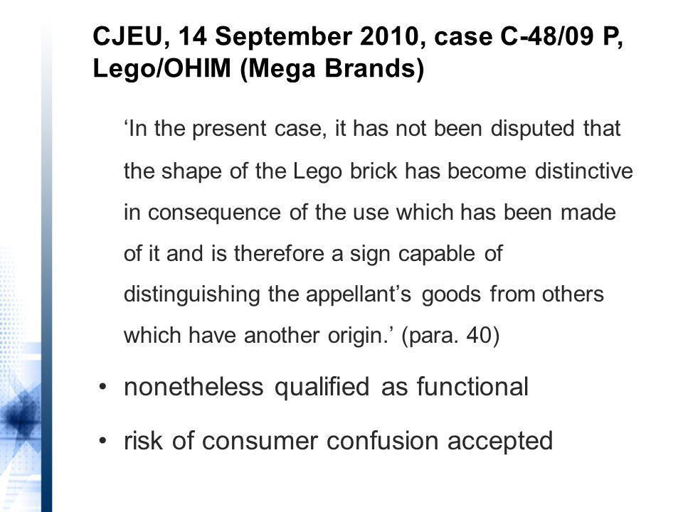 In the present case, it has not been disputed that the shape of the Lego brick has become distinctive in consequence of the use which has been made of it and is therefore a sign capable of distinguishing the appellants goods from others which have another origin.