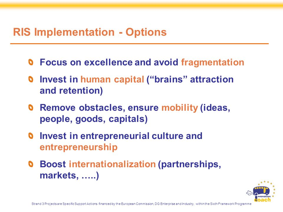 Focus on excellence and avoid fragmentation Invest in human capital (brains attraction and retention) Remove obstacles, ensure mobility (ideas, people, goods, capitals) Invest in entrepreneurial culture and entrepreneurship Boost internationalization (partnerships, markets, …..) RIS Implementation - Options Strand 3 Projects are Specific Support Actions financed by the European Commission, DG Enterprise and Industry, within the Sixth Framework Programme
