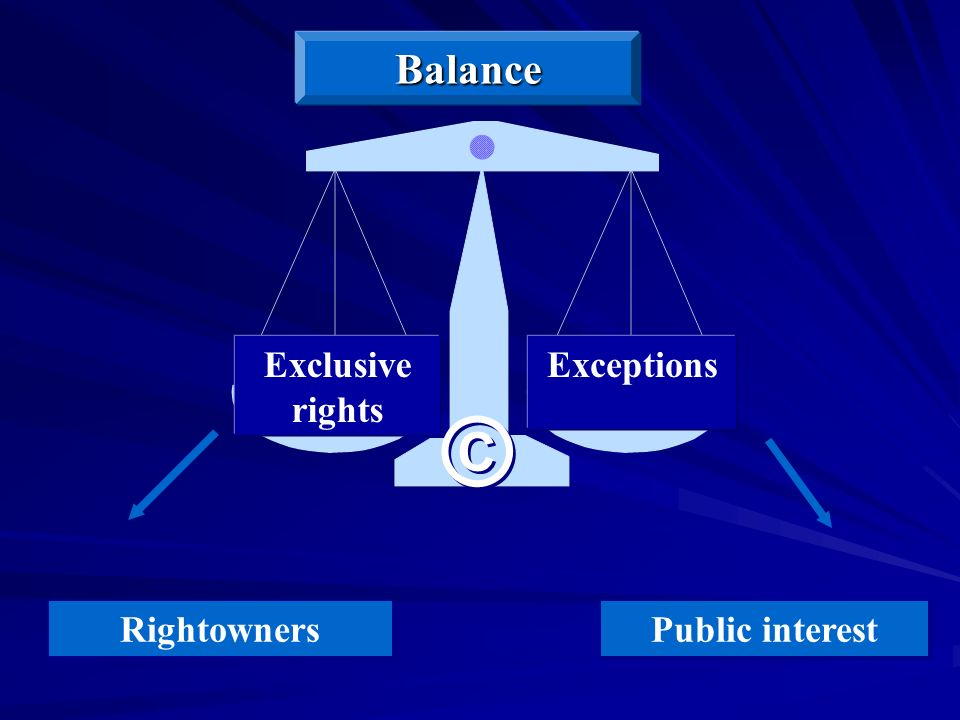 Public interest Rightowners ExceptionsExclusive rights Balance © ©