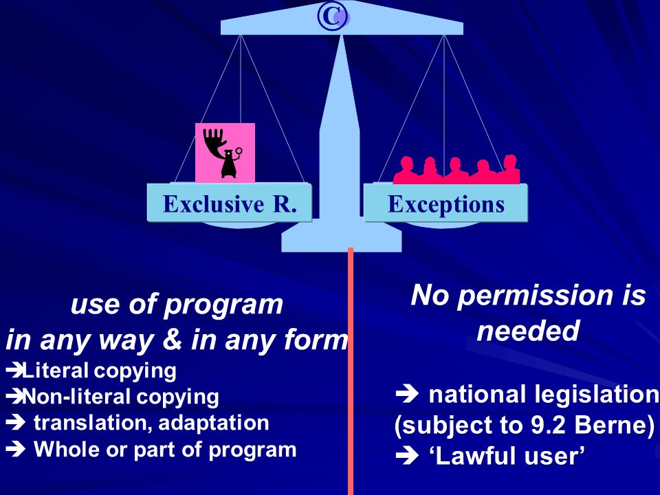Exclusive R.Exceptions © use of program in any way & in any form Literal copying Non-literal copying translation, adaptation Whole or part of program use of program in any way & in any form Literal copying Non-literal copying translation, adaptation Whole or part of program No permission is needed national legislation (subject to 9.2 Berne) Lawful user No permission is needed national legislation (subject to 9.2 Berne) Lawful user