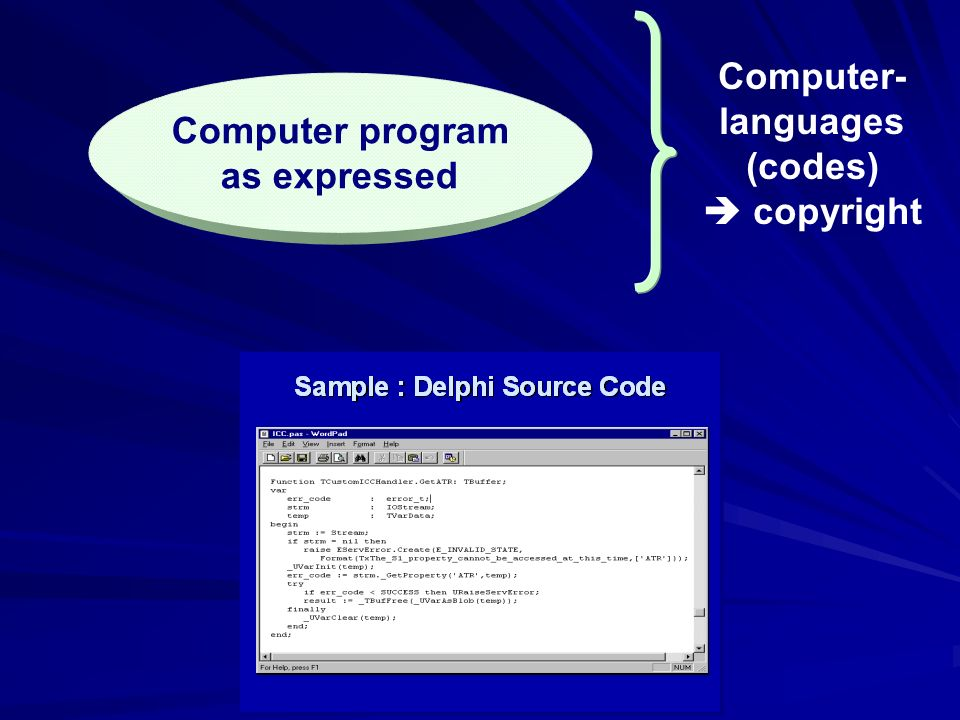 Computer program as expressed Computer- languages (codes) copyright