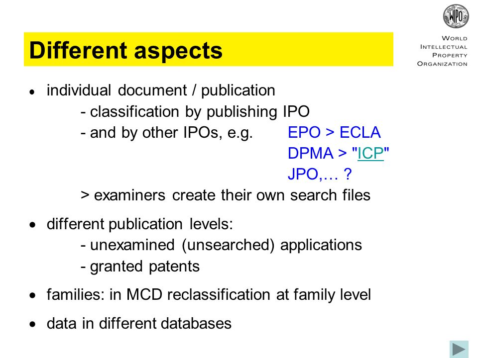 Different aspects individual document / publication - classification by publishing IPO - and by other IPOs, e.g.EPO > ECLA DPMA > ICP ICP JPO,… .