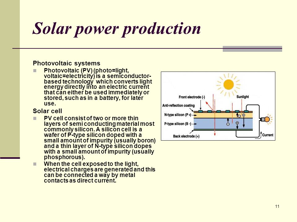 11 Solar power production Photovoltaic systems Photovoltaic (PV) (photo=light, voltaic=electricity) is a semiconductor- based technology which converts light energy directly into an electric current that can either be used immediately or stored, such as in a battery, for later use.