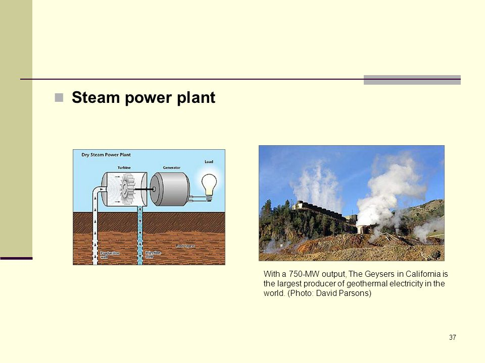 37 Steam power plant With a 750-MW output, The Geysers in California is the largest producer of geothermal electricity in the world.