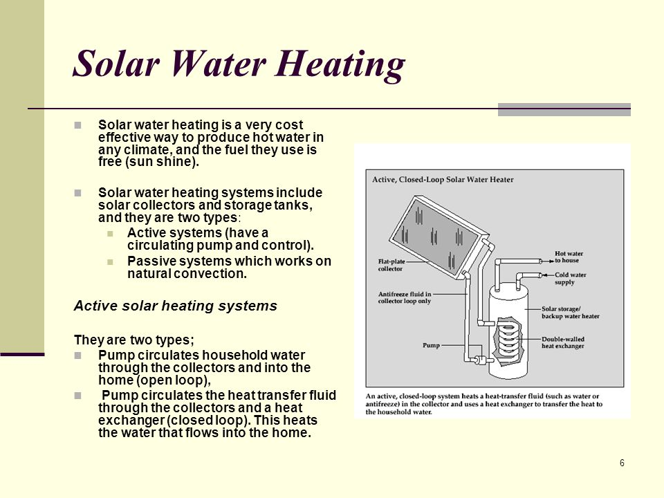 6 Solar Water Heating Solar water heating is a very cost effective way to produce hot water in any climate, and the fuel they use is free (sun shine).