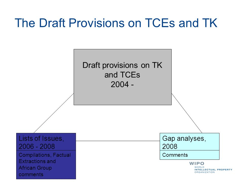 The Draft Provisions on TCEs and TK Draft provisions on TK and TCEs 2004 - Lists of Issues, 2006 - 2008 Gap analyses, 2008 Compilations, Factual Extra