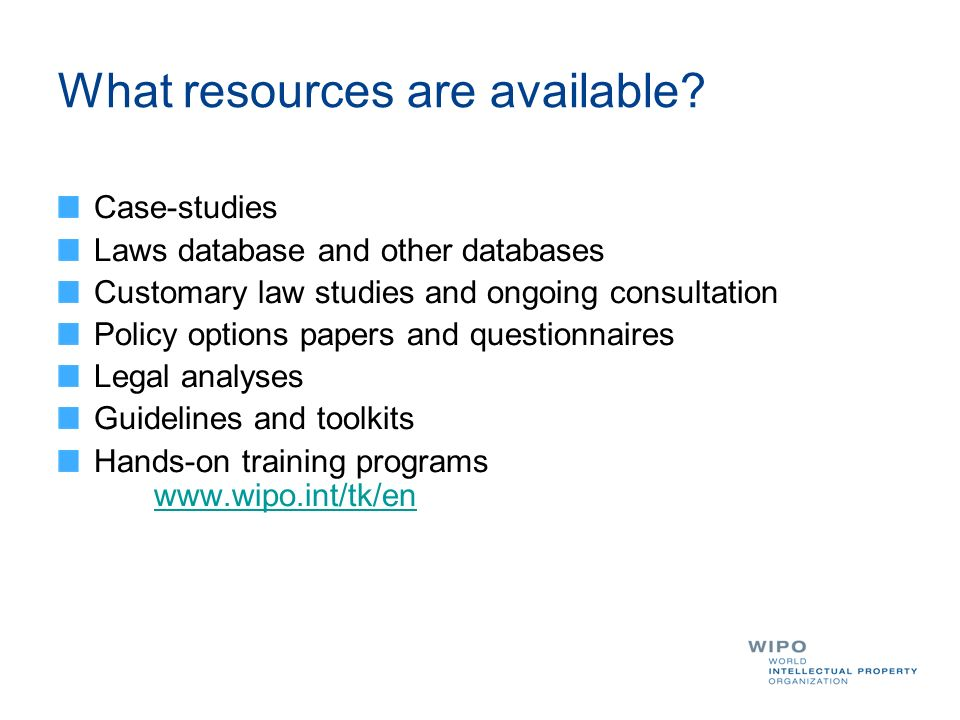 What resources are available? Case-studies Laws database and other databases Customary law studies and ongoing consultation Policy options papers and