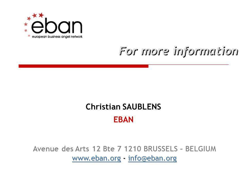Christian SAUBLENS EBAN For more information Avenue des Arts 12 Bte 7 1210 BRUSSELS – BELGIUM www.eban.orgwww.eban.org - info@eban.org info@eban.org w