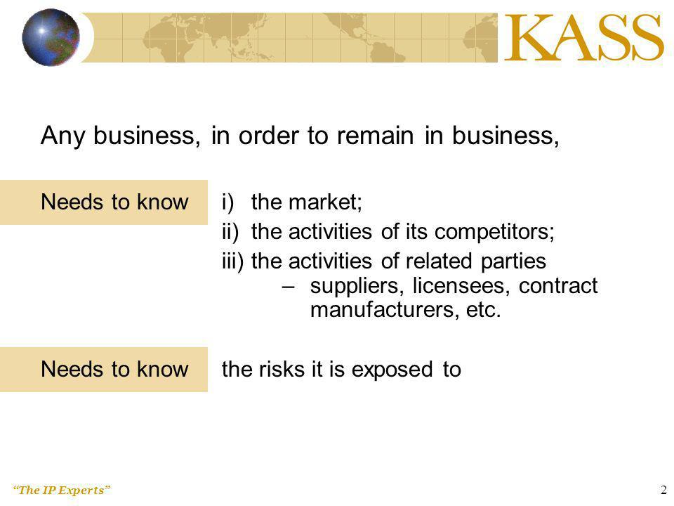 The IP Experts 3 To remain competitive, or to grow, one needs information (read: intelligence) on market, competitors, etc.