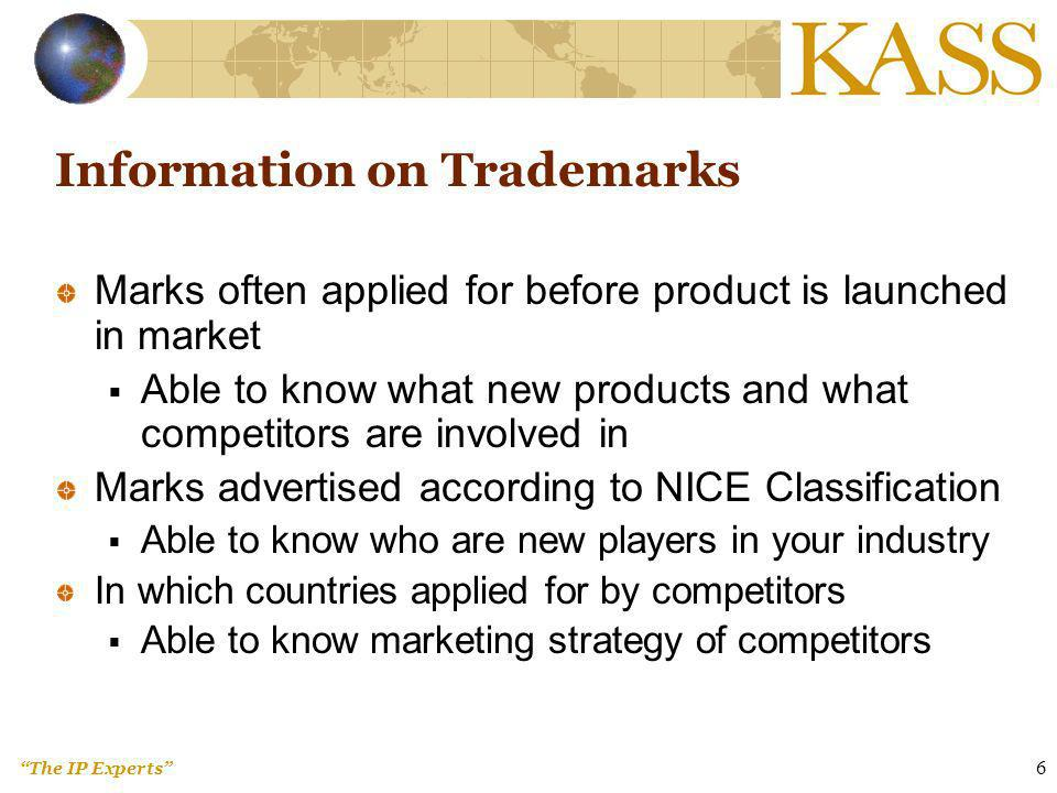 The IP Experts 17 Patent Database – Publishes all granted patents in the country since the first granted patent in the country – Automatic machine translation available in some countries, e.g.