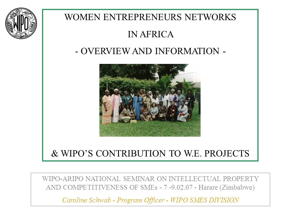 OECD workshop urges governments to aid women entrepreneurs in Middle East, North Africa www.oecd.org/document/43/0,2340,fr_2649_33956792_3512650 7_1_1_1_1,00.html Millenium Development Goals and African Women Entrepreneurs http://www.ascleiden.nl/Pdf/finalmdgs0031.ppt International Labor Organization for Women Entrepreneurs: http://www.ilo.org/dyn/gender/