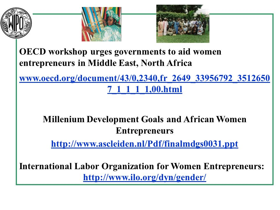 OECD workshop urges governments to aid women entrepreneurs in Middle East, North Africa   7_1_1_1_1,00.html Millenium Development Goals and African Women Entrepreneurs   International Labor Organization for Women Entrepreneurs: