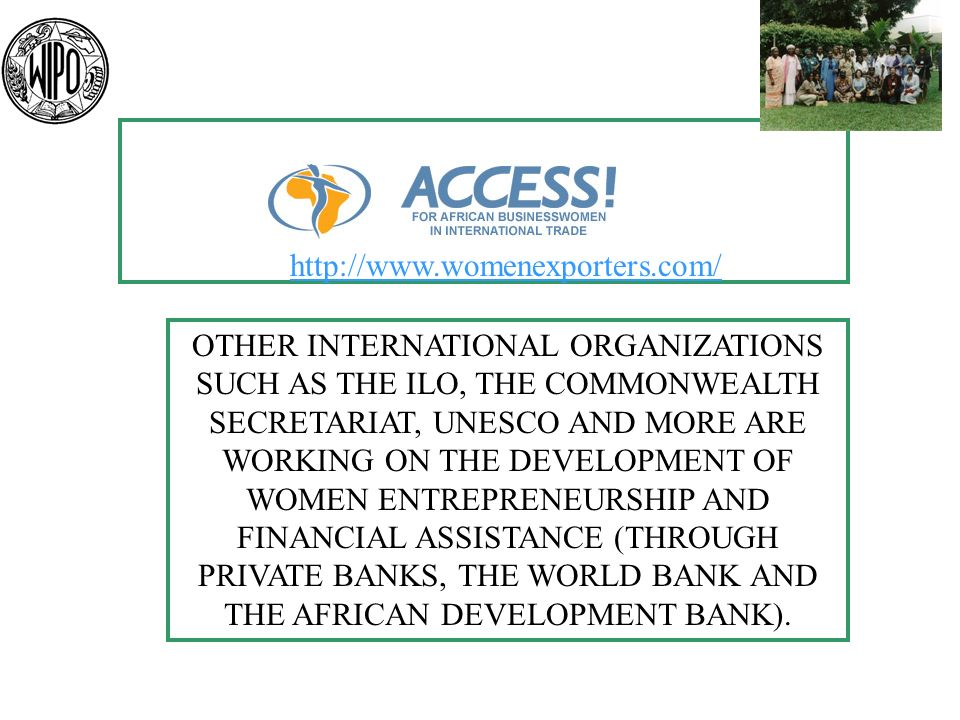 OTHER INTERNATIONAL ORGANIZATIONS SUCH AS THE ILO, THE COMMONWEALTH SECRETARIAT, UNESCO AND MORE ARE WORKING ON THE DEVELOPMENT OF WOMEN ENTREPRENEURSHIP AND FINANCIAL ASSISTANCE (THROUGH PRIVATE BANKS, THE WORLD BANK AND THE AFRICAN DEVELOPMENT BANK).