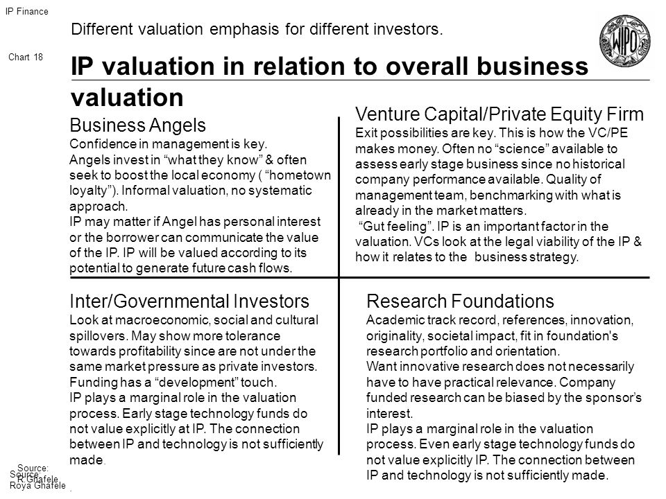IP Finance Chart 18 Source: R.Ghafele IP valuation in relation to overall business valuation Source: Roya Ghafele Different valuation emphasis for different investors.