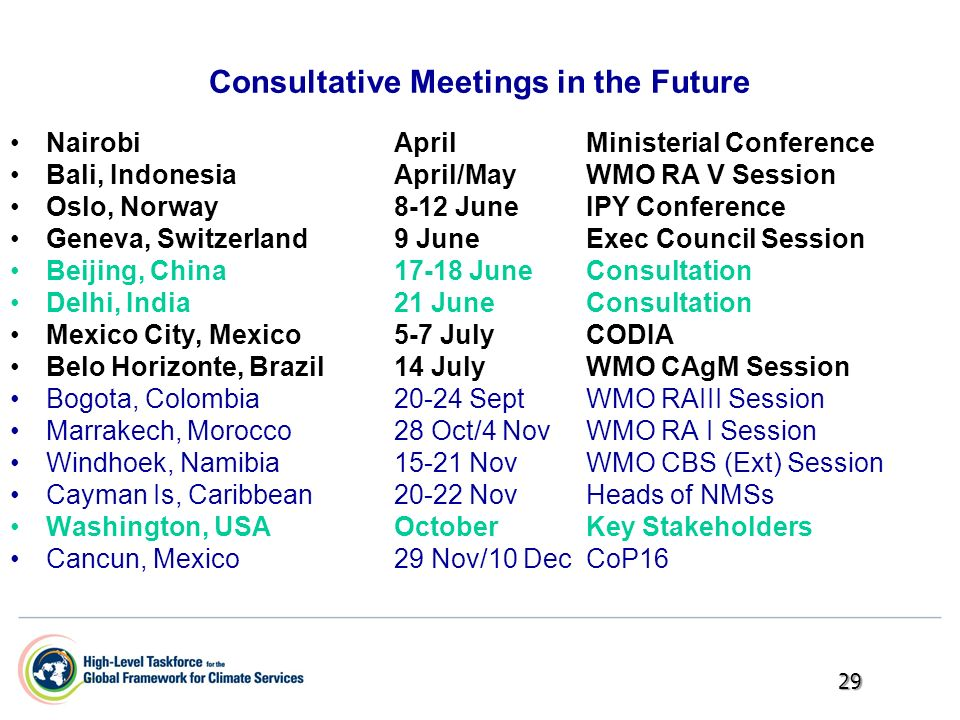 Consultative Meetings in the Future Nairobi AprilMinisterial Conference Bali, IndonesiaApril/MayWMO RA V Session Oslo, Norway8-12 JuneIPY Conference G
