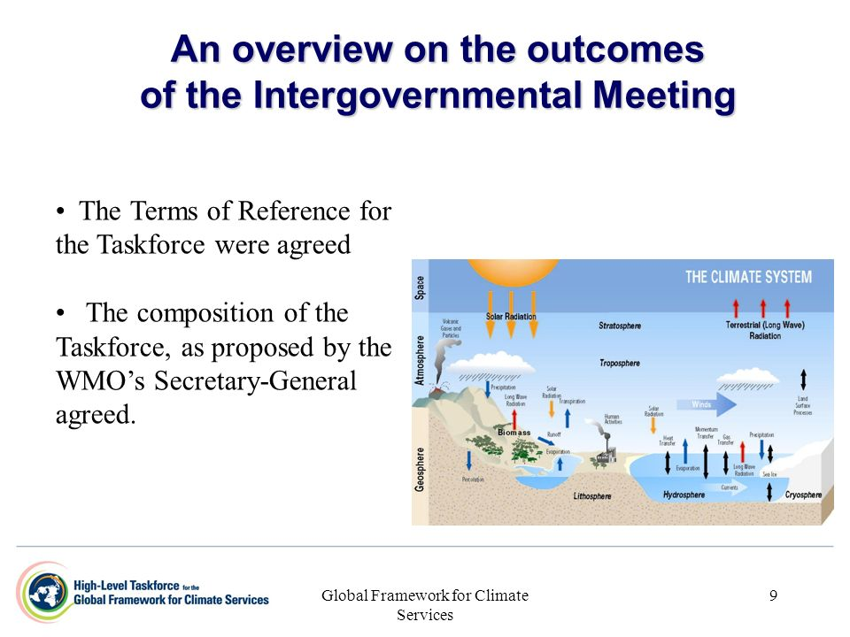 Global Framework for Climate Services 9 An overview on the outcomes of the Intergovernmental Meeting The Terms of Reference for the Taskforce were agr