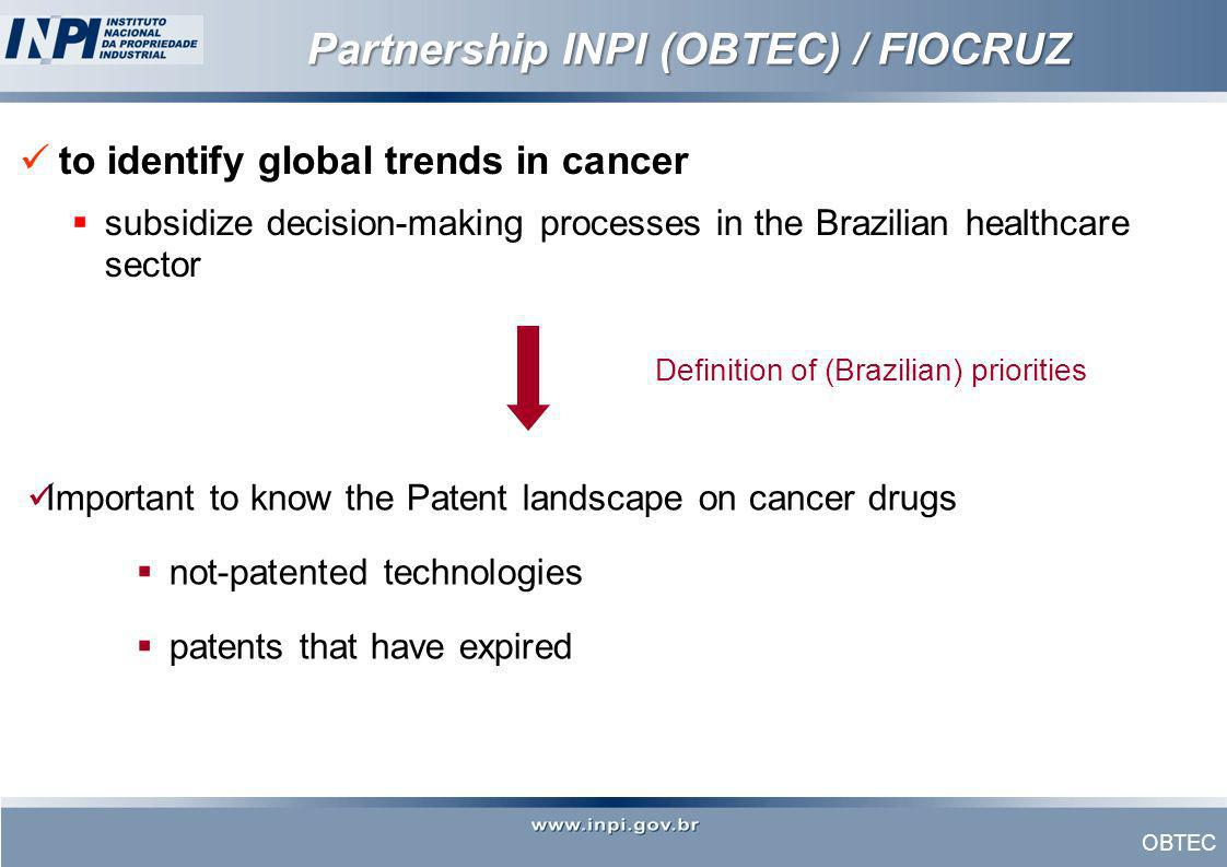OBTEC Partnership INPI (OBTEC) / FIOCRUZ to identify global trends in cancer subsidize decision-making processes in the Brazilian healthcare sector De