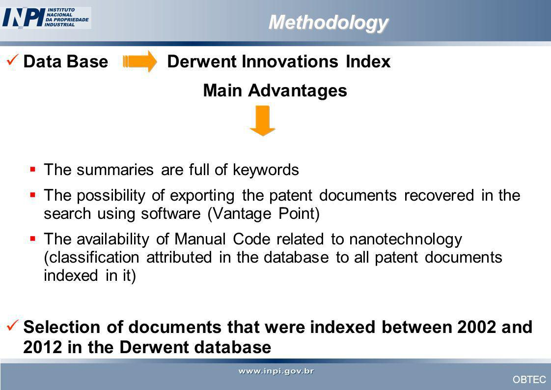 OBTEC Methodology Data BaseDerwent Innovations Index Main Advantages The summaries are full of keywords The possibility of exporting the patent docume