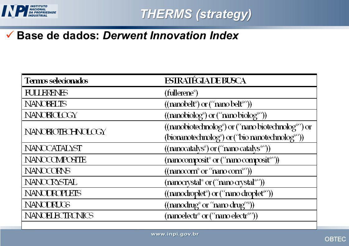 OBTEC THERMS (strategy) Base de dados: Derwent Innovation Index