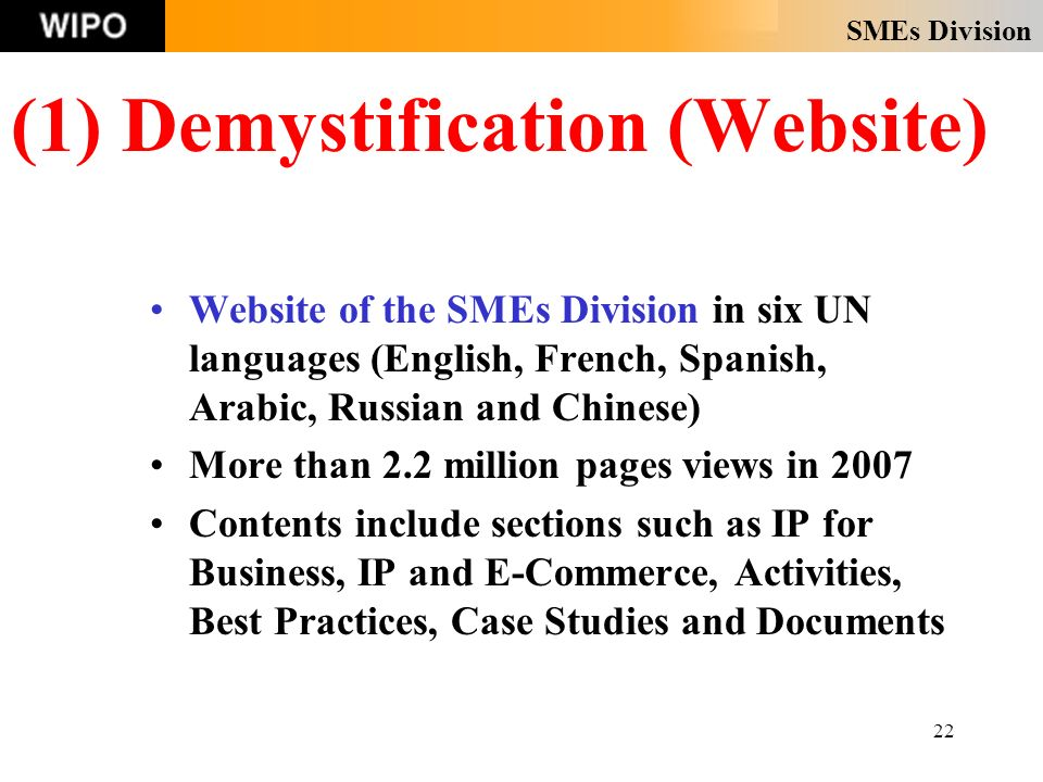 SMEs Division 22 (1) Demystification (Website) Website of the SMEs Division in six UN languages (English, French, Spanish, Arabic, Russian and Chinese) More than 2.2 million pages views in 2007 Contents include sections such as IP for Business, IP and E-Commerce, Activities, Best Practices, Case Studies and Documents
