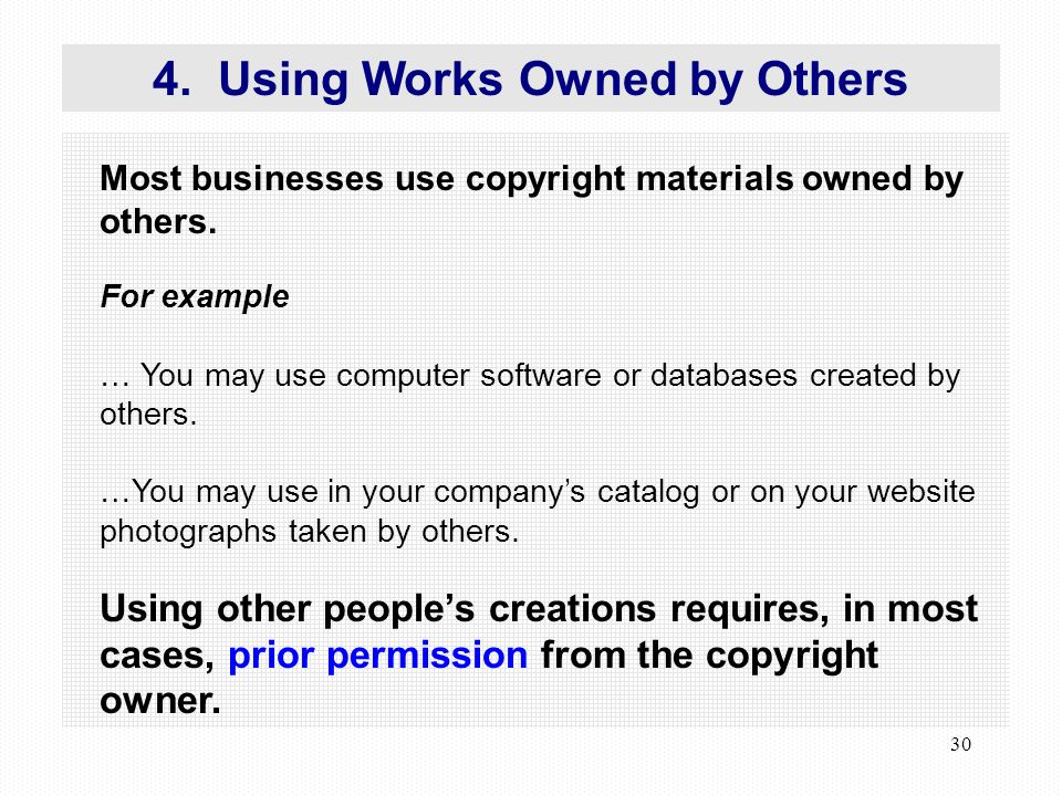 30 Most businesses use copyright materials owned by others.