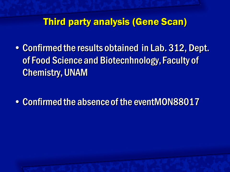 Event MON810 T25 GA21 NK603 DAS-01507-1 MON863 MON88017 DAS-59122-7 1 1 2 2 3 3 4 4 5 5 6 6 7 7 8 8 Specific presence of transgenic events in maize grains, by RTQ-PCR