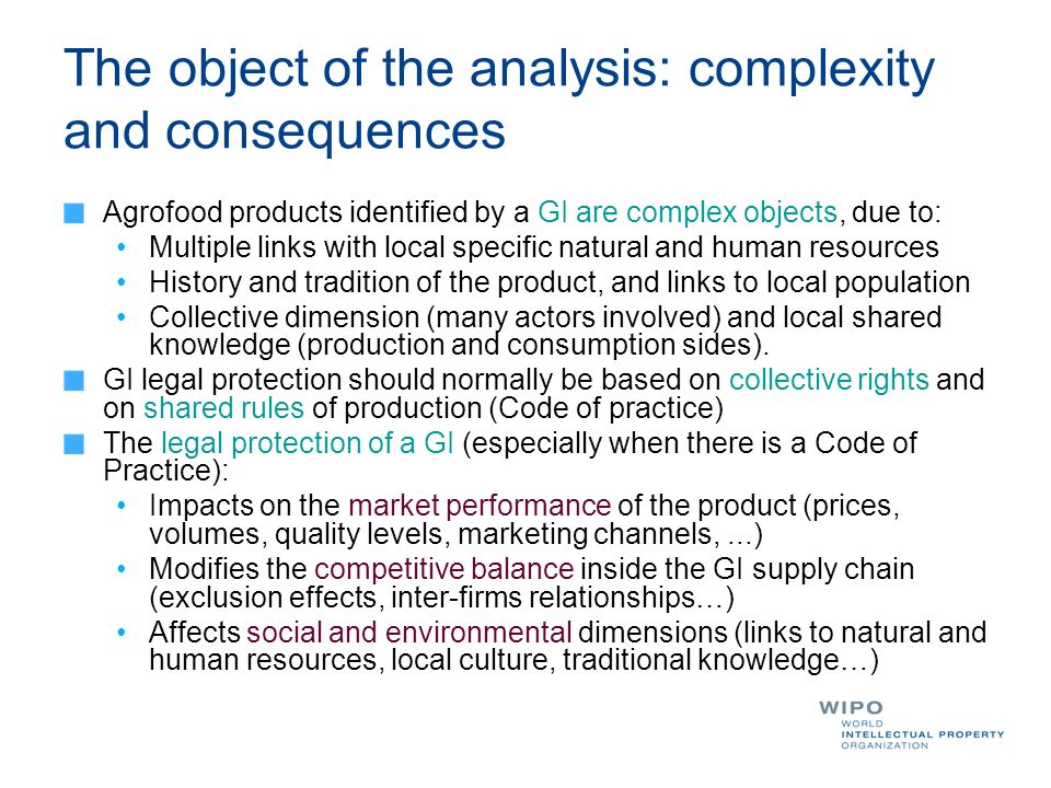 The object of the analysis: complexity and consequences Agrofood products identified by a GI are complex objects, due to: Multiple links with local specific natural and human resources History and tradition of the product, and links to local population Collective dimension (many actors involved) and local shared knowledge (production and consumption sides).