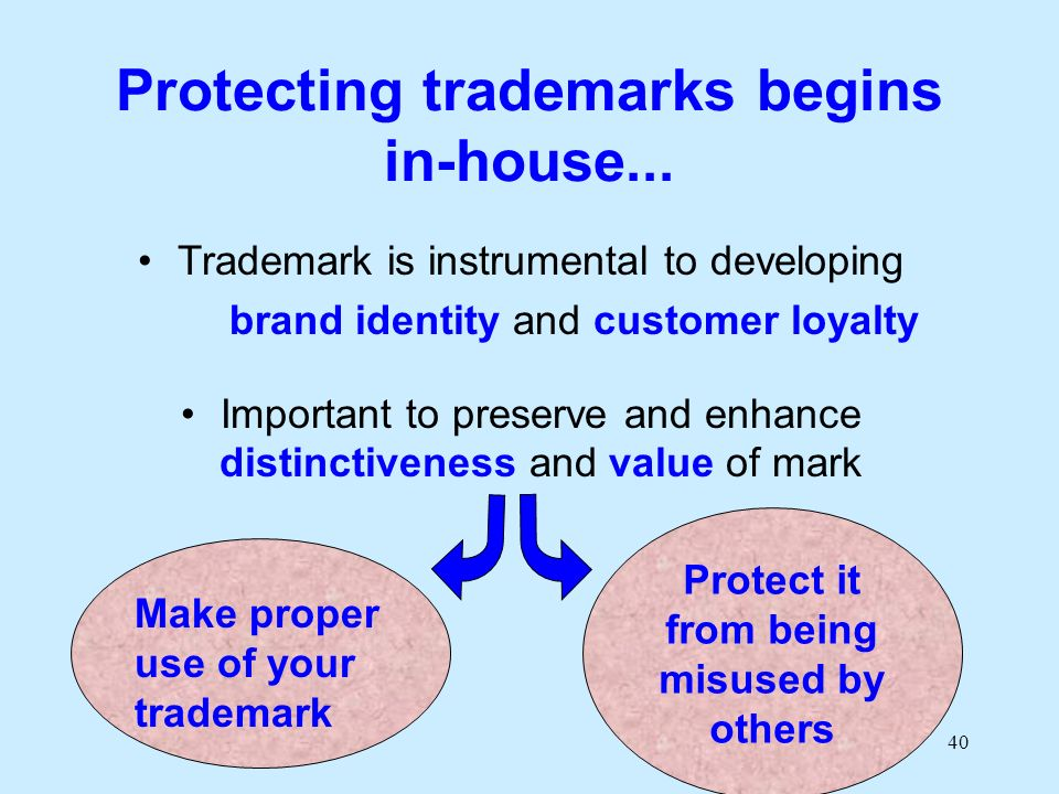 40 Protecting trademarks begins in-house... Trademark is instrumental to developing brand identity and customer loyalty Important to preserve and enha
